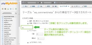 07_テーブル選択状態からのエクスポート画面