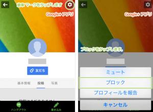 13_プロフィールページからの報告とブロック(iPhone+Google+)