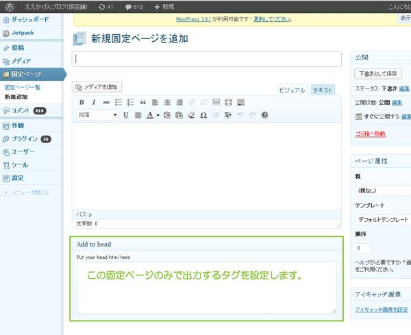 10_固定ページタグ(Add to head PAGE)